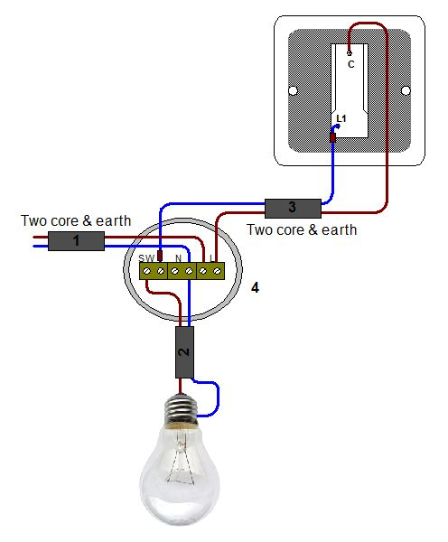 wiring a light switch 2 gang 1 way  circuit connection