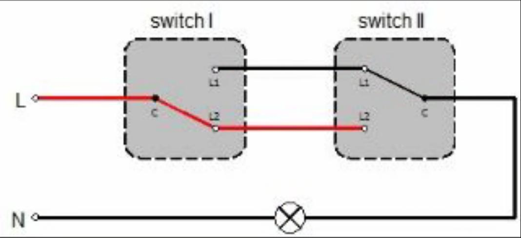 Two way switching diagram.Two way switch.