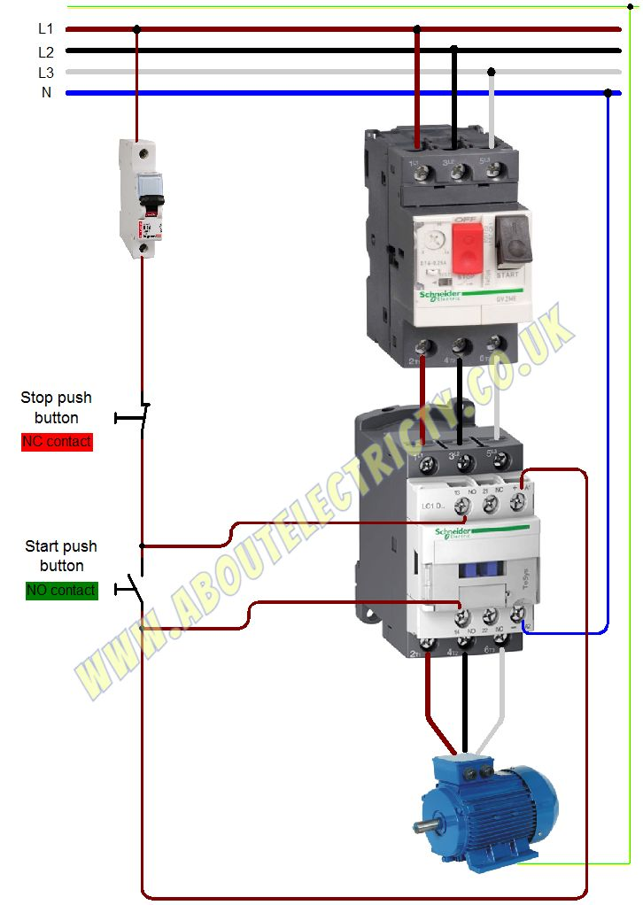 Direct on-line starter with motor protection relay.