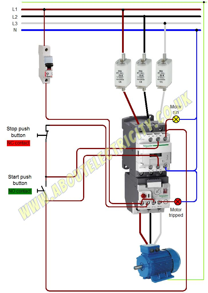 magnetic starter wiring diagram for 220 all you need to know about dol    starter        aboutelectricity  all you need to know about dol    starter        aboutelectricity