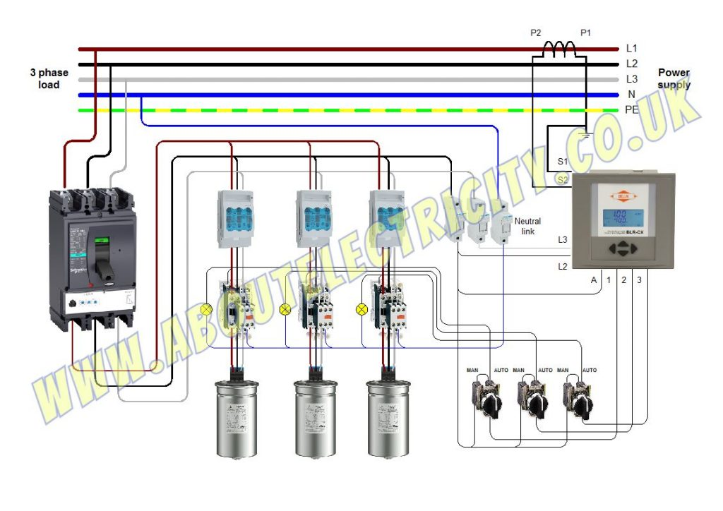 power factor wiring auto manual stages